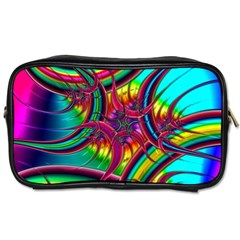 Abstract Neon Fractal Rainbows Travel Toiletry Bag (two Sides)