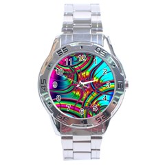 Abstract Neon Fractal Rainbows Stainless Steel Watch