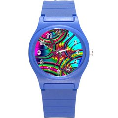 Abstract Neon Fractal Rainbows Plastic Sport Watch (small)