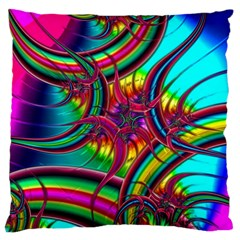 Abstract Neon Fractal Rainbows Large Cushion Case (Two Sided)