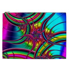 Abstract Neon Fractal Rainbows Cosmetic Bag (xxl)