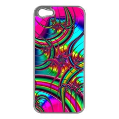 Abstract Neon Fractal Rainbows Apple Iphone 5 Case (silver)