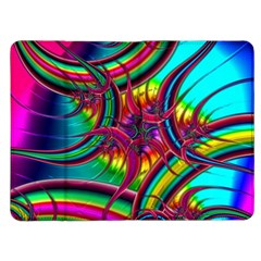 Abstract Neon Fractal Rainbows Kindle Fire Flip Case