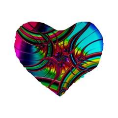Abstract Neon Fractal Rainbows 16  Premium Heart Shape Cushion