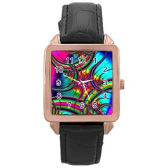 Abstract Neon Fractal Rainbows Rose Gold Leather Watch