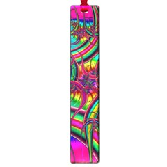 Abstract Neon Fractal Rainbows Large Bookmark