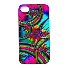 Abstract Neon Fractal Rainbows Apple Iphone 4/4s Hardshell Case With Stand
