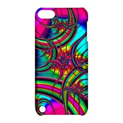 Abstract Neon Fractal Rainbows Apple Ipod Touch 5 Hardshell Case With Stand