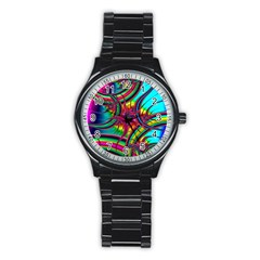Abstract Neon Fractal Rainbows Sport Metal Watch (Black)
