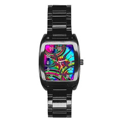 Abstract Neon Fractal Rainbows Stainless Steel Barrel Watch