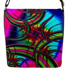 Abstract Neon Fractal Rainbows Flap Closure Messenger Bag (Small)