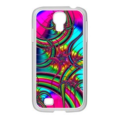Abstract Neon Fractal Rainbows Samsung GALAXY S4 I9500/ I9505 Case (White)