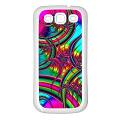 Abstract Neon Fractal Rainbows Samsung Galaxy S3 Back Case (white)