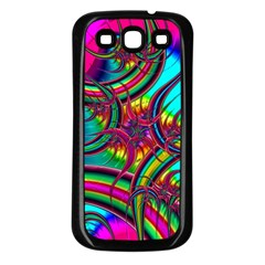 Abstract Neon Fractal Rainbows Samsung Galaxy S3 Back Case (black)
