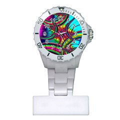 Abstract Neon Fractal Rainbows Nurses Watch
