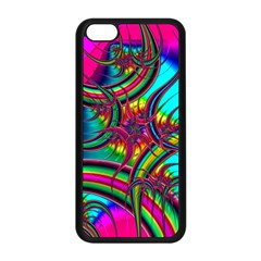 Abstract Neon Fractal Rainbows Apple iPhone 5C Seamless Case (Black)