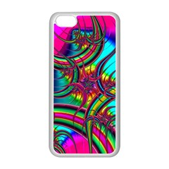 Abstract Neon Fractal Rainbows Apple iPhone 5C Seamless Case (White)