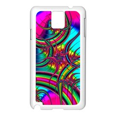 Abstract Neon Fractal Rainbows Samsung Galaxy Note 3 N9005 Case (White)