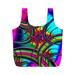 Abstract Neon Fractal Rainbows Reusable Bag (m)