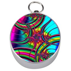 Abstract Neon Fractal Rainbows Silver Compass