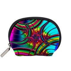 Abstract Neon Fractal Rainbows Accessory Pouch (small)