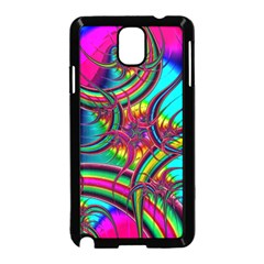 Abstract Neon Fractal Rainbows Samsung Galaxy Note 3 Neo Hardshell Case (black)