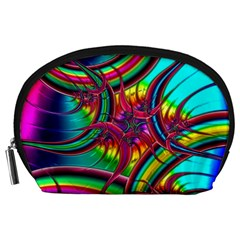 Abstract Neon Fractal Rainbows Accessory Pouch (large)