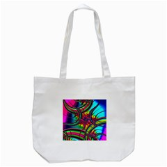 Abstract Neon Fractal Rainbows Tote Bag (White)