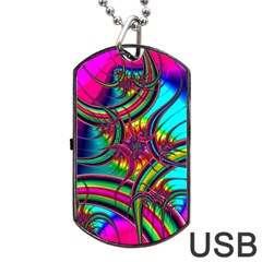 Abstract Neon Fractal Rainbows Dog Tag USB Flash (Two Sides)
