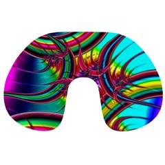 Abstract Neon Fractal Rainbows Travel Neck Pillow