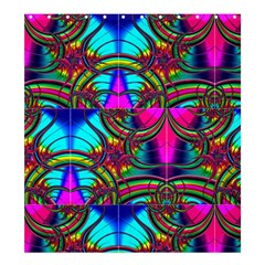 Abstract Neon Fractal Rainbows Shower Curtain 66  x 72  (Large)