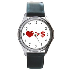 Love Is More Than Money Round Leather Watch (silver Rim)
