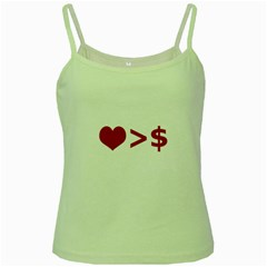 Love Is More Than Money Green Spaghetti Tank