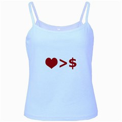 Love Is More Than Money Baby Blue Spaghetti Tank