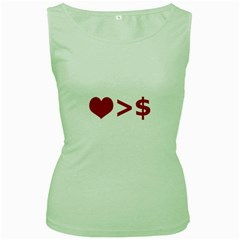 Love Is More Than Money Women s Tank Top (Green)