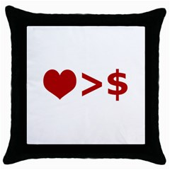 Love Is More Than Money Black Throw Pillow Case