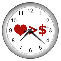Love Is More Than Money Wall Clock (Silver)