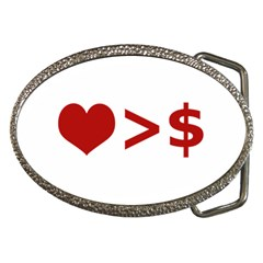 Love Is More Than Money Belt Buckle (Oval)