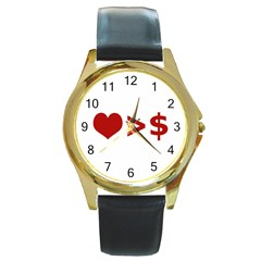 Love Is More Than Money Round Leather Watch (gold Rim)