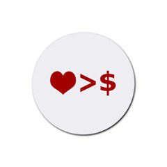 Love Is More Than Money Drink Coasters 4 Pack (Round)