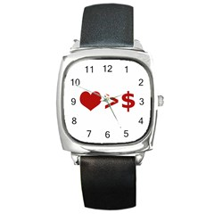 Love Is More Than Money Square Leather Watch