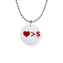Love Is More Than Money Button Necklace