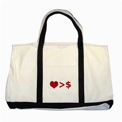 Love Is More Than Money Two Toned Tote Bag