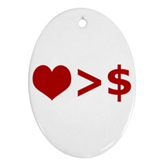 Love Is More Than Money Oval Ornament (two Sides)