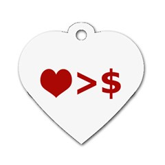 Love Is More Than Money Dog Tag Heart (Two Sided)