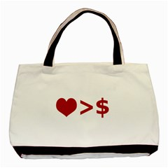 Love Is More Than Money Twin-sided Black Tote Bag