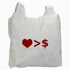 Love Is More Than Money White Reusable Bag (one Side)