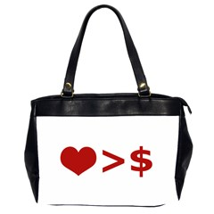 Love Is More Than Money Oversize Office Handbag (two Sides)