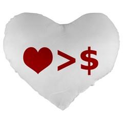 Love Is More Than Money 19  Premium Heart Shape Cushion
