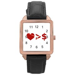 Love Is More Than Money Rose Gold Leather Watch